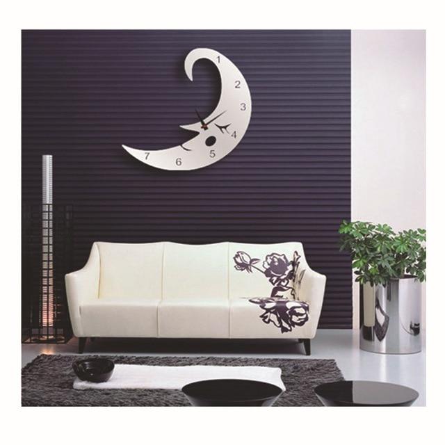 Sleeping Moon Mirror Wall Clock Kid S Bedroom Sticker Home Decals Designer Pendule Murale Digital Watch
