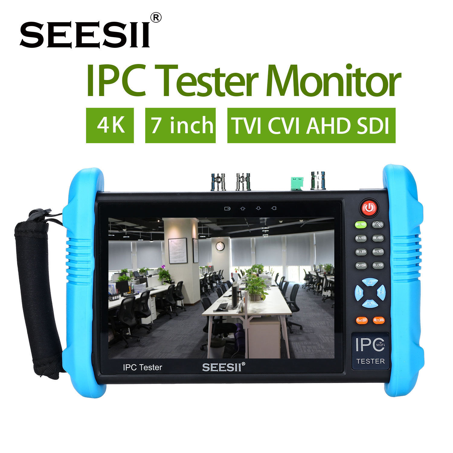 SEESII 7Touch Screen H.265 IP Camera Tester 4K 1080P IPC Camera CCTV TVI CVI AHD SDI CVBS HDMl PTZ Control Analog Video Test 7inch capacitive touch screen ips lcd test monitor with touch analog ip ahd cvi tvi sdi camera tester