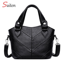 New Simple and Elegant Leather Handbags Women Casual Tote Bags Vintage Female Large Capacity Ladies For