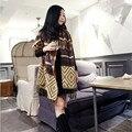 Envío gratis nueva moda Za Diseñador de la Marca Mujeres de Invierno A Cuadros Cuadrado Bufanda de Punto Calientes Femeninos Chales Bufandas de Algodón de Gran Tamaño