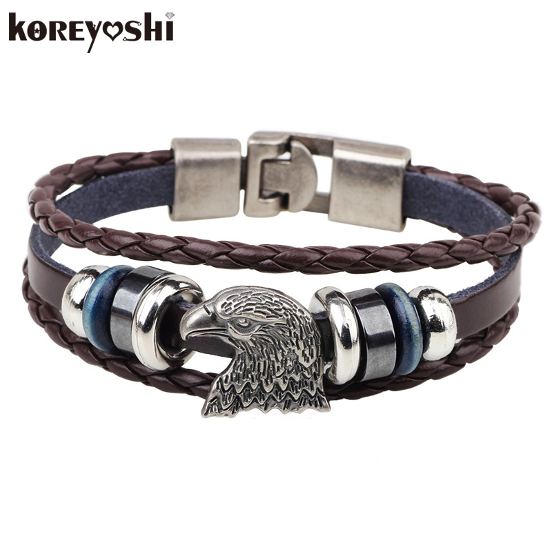 Bracelets Men 2017 Hand Made Multilayer Braided Vintage Punk Genuine Leather bracelet &Bangle good gift Accessories Bijouterie