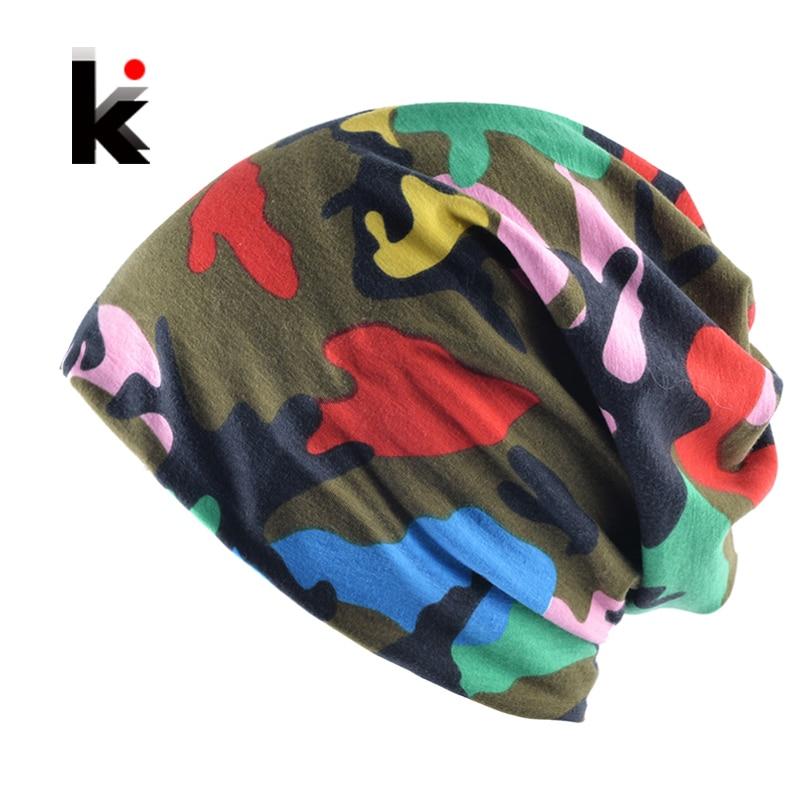 2018 New Fashion Camo Turban Hats For Women Men Spring And Autumn Soft   Beanies   Muffler Scarf Dual-Use Caps Unisex Hip-Hop Bonnet