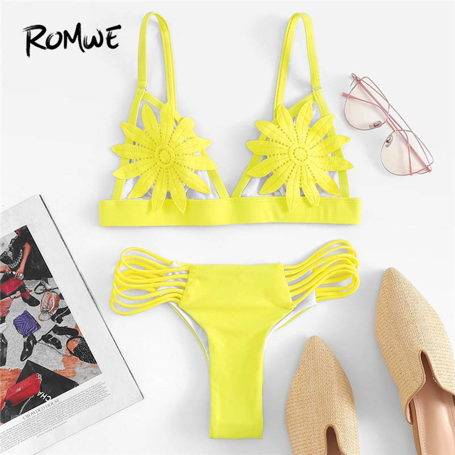 3f28ba8af9579 Romwe Sport Yellow Ladder Cut-Out Appliques Bikini Set Triangle Solid Beach  Holiday Hot Sexy Swimsuit Women Summer Swimwear
