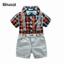 Kimocat Summer Baby Boy Clothes Shirt+Pants England Style Short sleeve plaid shirt denim cotton suit gentleman kids clothes