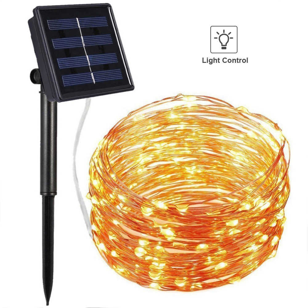 100PCS LED Christmas Solar Lights for Outdoor Waterproof Copper Wire Led Lighting String Holiday New Year's Garland Party Deco