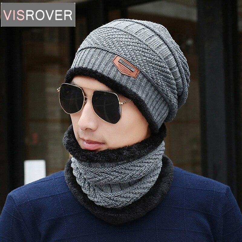 Visrover New Cashmere Scarf Mask Hat Sets Motor Driver Windstoper Hats High Brand Quality Winter Knitted Cap Neck Collor For Men