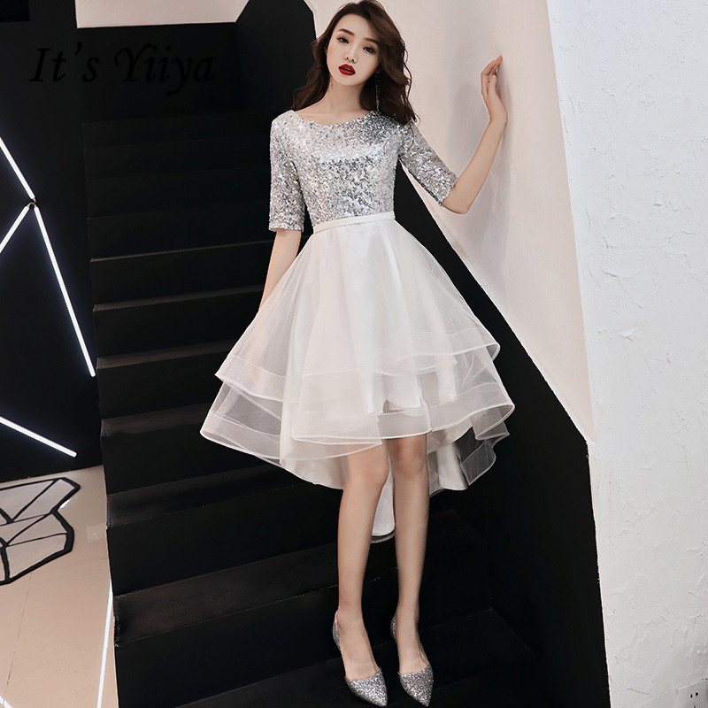 It's YiiYa   Prom     Dress   Shining Sliver Sequins Short Party   Dresses   Elegant O-neck Zipper High Low Length Formal Ball Gown E100