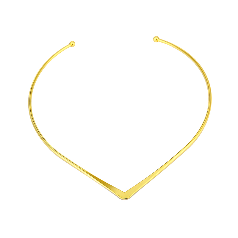 New fashion jewelry simple V design torques choker necklace for women girl  N1819