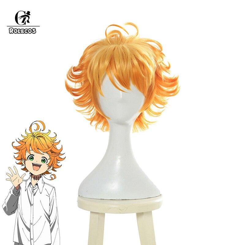 ROLECOS Emma Yakusoku no Neverland Cosplay   Headwear   The Promised Neverland Cosplay Hair Emma Women Hair Orange Short Curly Hair