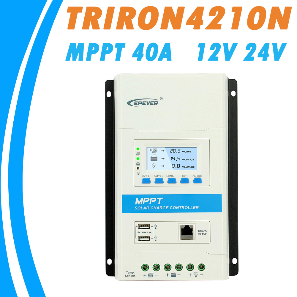 EPever 40A MPPT Solar Charger Controller Triron4210N with DS2 and UCS Module for Lead acid Gel