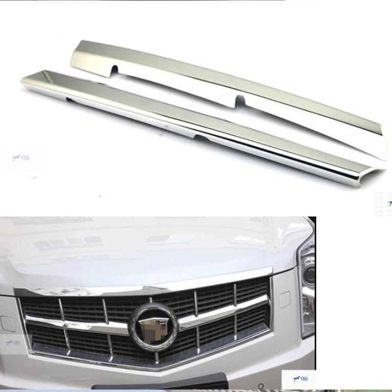Front Face Grille Grill lid Cover Kit Trim Bezel 2 Pcs For Cadillac SRX 2010 - 2014