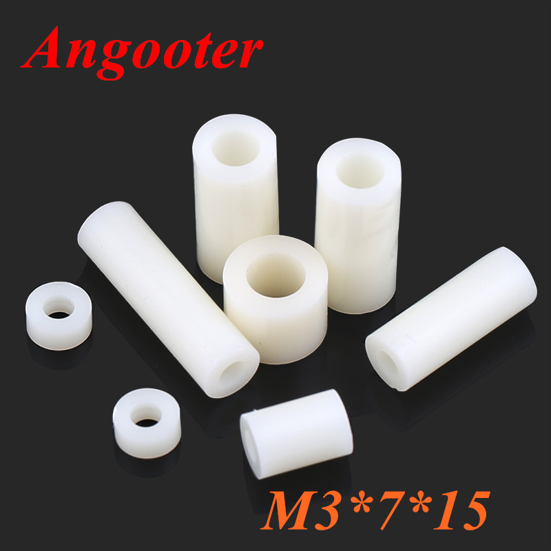 OD M3 x 7 x Length Plastic Tapped Round Standoff Spacer No Threads ID