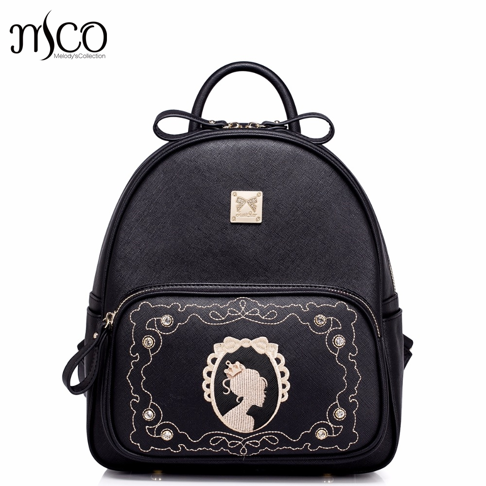 Brand Design Vintage Magic Mirror Embroidery Rhinestone PU Leather Women School Travel B ...