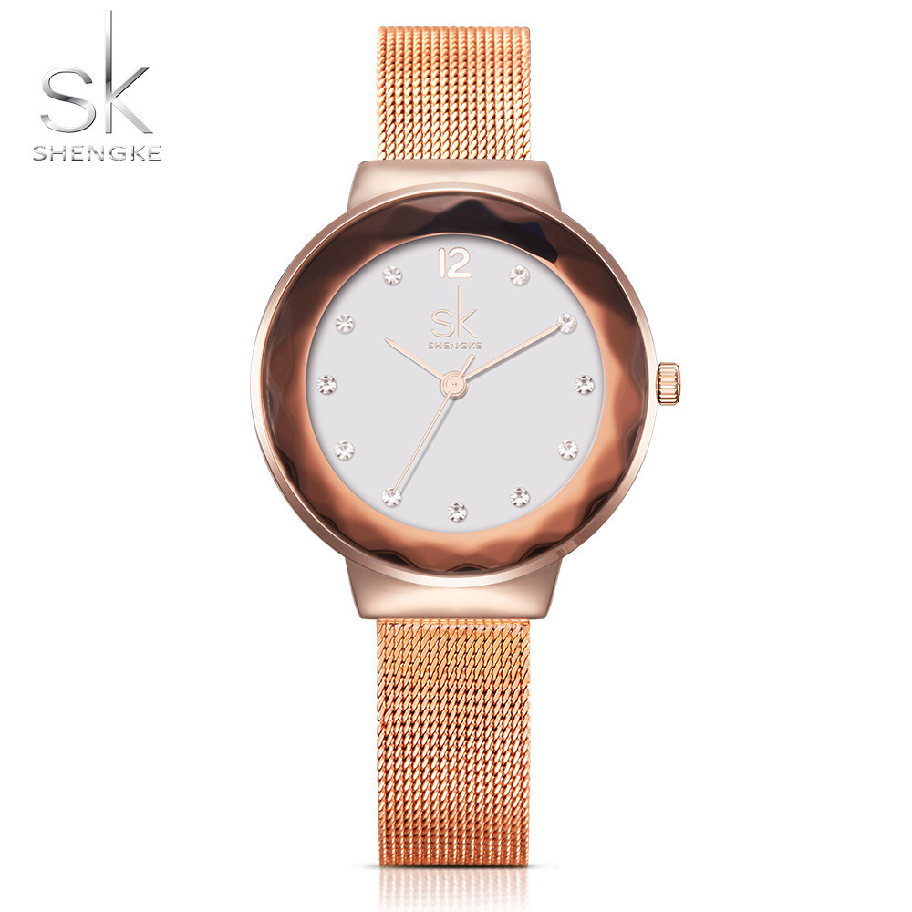 SK New Luxury Women s Watches Rhinestone Rose Golden Mesh Belt Dress Clock Shell Dial Quartz