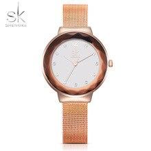 SK Nueva Relojes de Lujo de Las Mujeres Rhinestone Rose Correa de Malla de Oro Vestido Reloj Shell Dial Cuarzo Reloj de Pulsera Reloj de pulsera 2017
