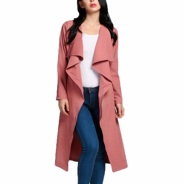 Spring Autumn Cardigan Women Trench Basic Long Coat Windbreaker Female Outerwear Lady Suit Clothing Overcoat Manteau Femme 2016