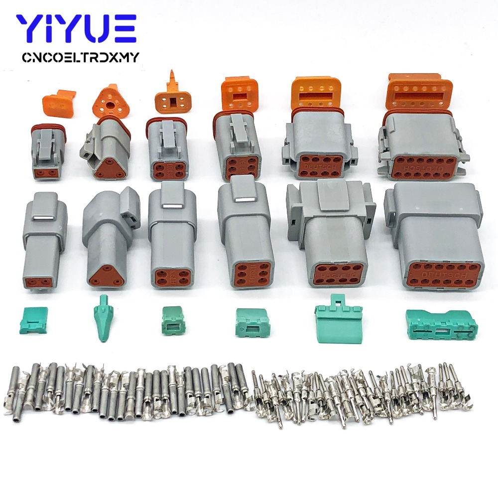 1 Sets Deutsch DT 2 3 4 6 8 12 Pin Male Female Auto Waterproof Connector Automotive Sealed Plug With Pins