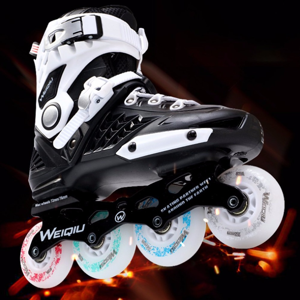 1 Pair Skates 8 Wheels Full Flash LED Wheel Skates Fancy Straight Adult Roller Skates Professional Men And Women Skates Shoes 72mm 85a outdoor roller skates brake pulley wheel blue black yellow