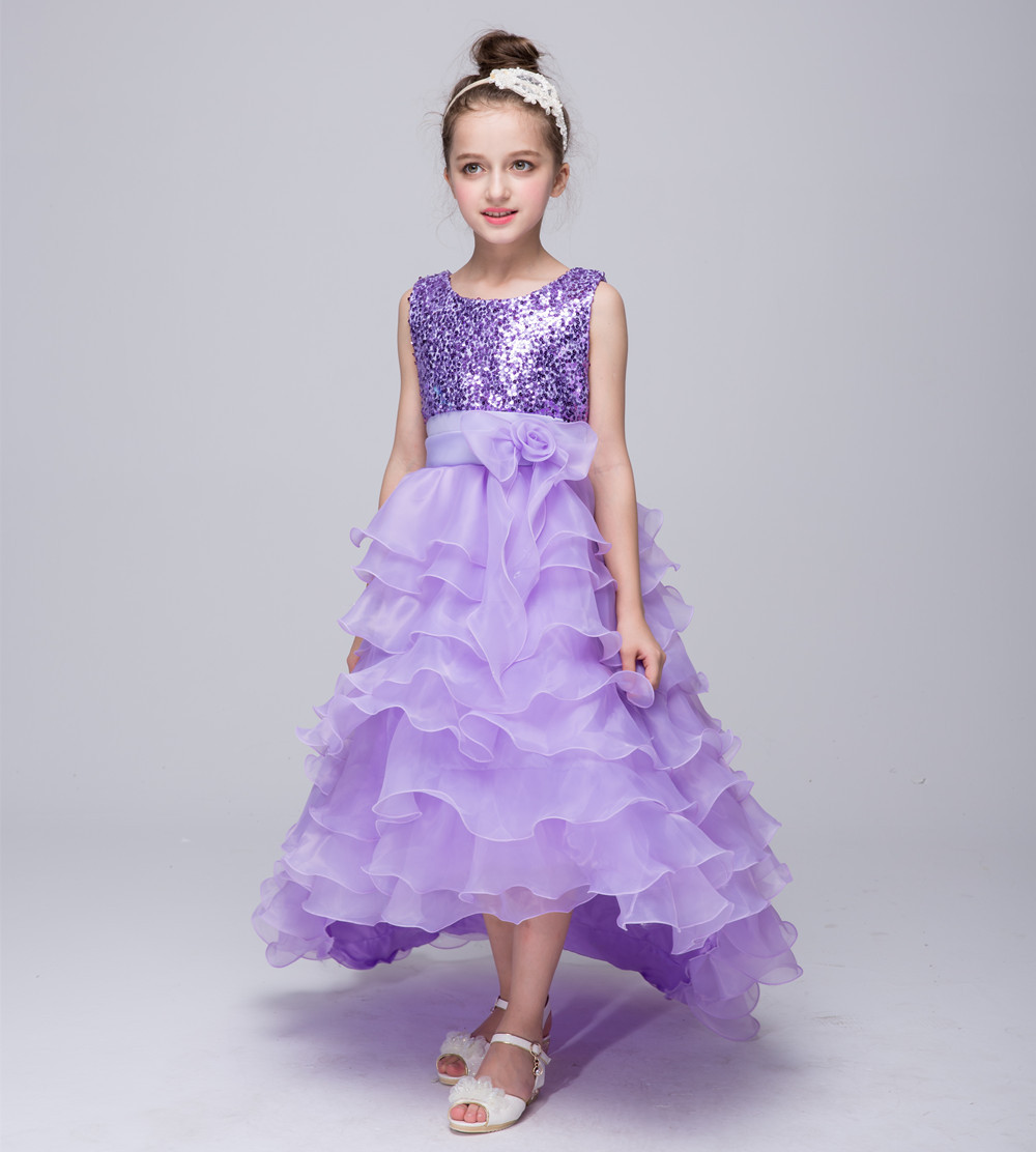 Fashion girls dress 2017 summer 2 12t sequin birthday party dresses ...