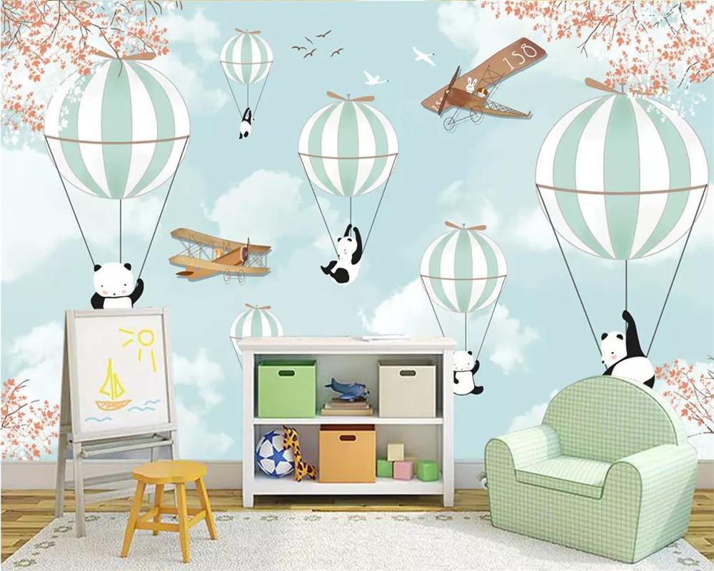 Beibehang Custom Wallpaper Cartoon Hand Painted Animal Hot Air Balloon Aircraft Mural Children Room Background Wall 3d Wallpaper