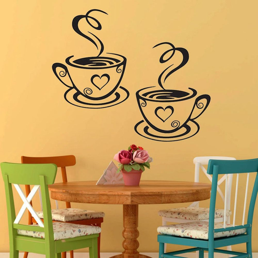 1PC Home Decor Paper Coffee Cup Cafe Tea Wall Stickers Art Vinyl ...