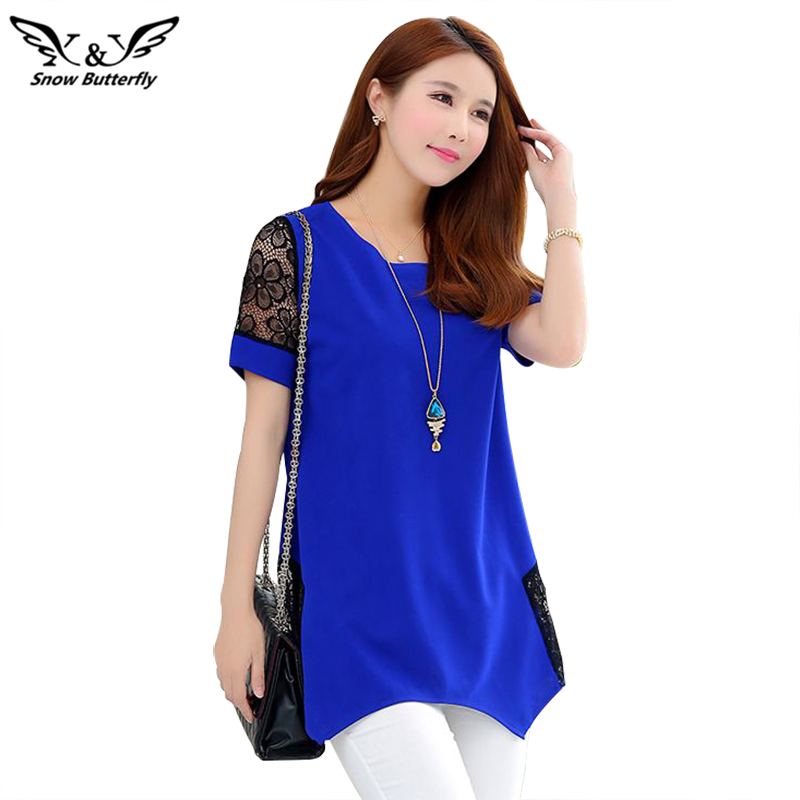 2019 Women Blouse Shirt Casual Blouses O-neck Loose Plus Size 5xl Blusas Patch Lace Blouse Long /short Sleeve Female Blusas Tops