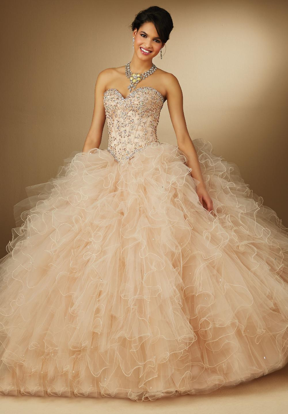 Strapless Beaded Lace Top Ball Gown Ruffles Skirt Champagne Prom ...