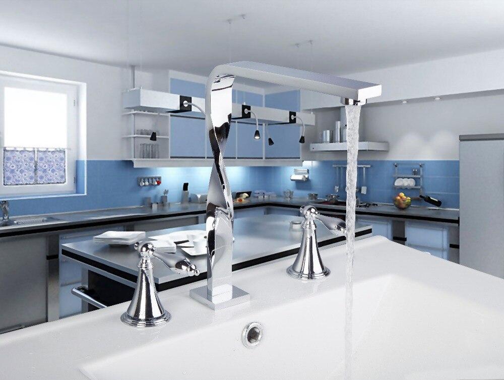 Luxury Chrome Construction 3 pcs faucet 56H Waterfall Deck Mounted Bathroom Basin Sink Bathtub Double Handles Mixer Tap Faucet