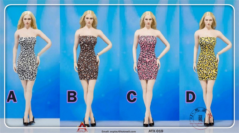 ACPLAY 1/6 Scale Customize Clothing Women Sexy Leopard Dress Four Suit ATX019 For 12 Phicen Female Large Bust Figure Doll Toys sexy 1 6 scale customize clothing for 12 phicen female large medium bust figure cowgirl doll toys accessories p20
