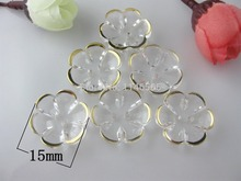 50pcs/lot Acrylic buttons Flower shape 15mm 2 holes crystal for sewing garment scrapbooking accessory para artesanato