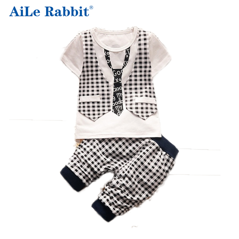 AiLe Rabbit summer baby boys clothing set toddler children sport suit set 2Pcs lattice gentleman tracksuit kids boys summer set 2016 new summer baby sport suit 100