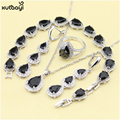 XUTAAYI Top Quality 925 Silver Jewelry Sets Black created Sapphire Necklace Pendant/Rings/Earrings/Bracelet For women