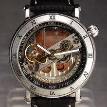 Chaude Mécanique Marque Hommes de Montres De Luxe Strass Squelette Montre Mécanique Hommes De Mode Sport Horloge Cas Automatique Montre-Bracelet