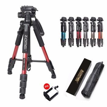 Professional Portable Travel Aluminum Camera Tripod with 3-Way Fluid Pan Head for Canon Nikon Sony SLR DSLR Camera DV Smartphone