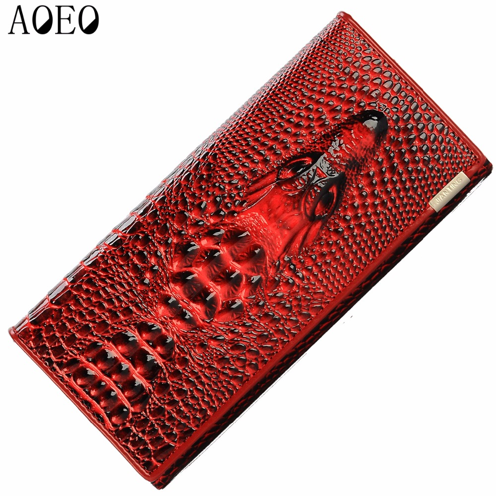 AOEO Women Lock Wallet Female Handbag Money Coin Purses Holder Genuine Leather PU 3D Alligator Crocodile Long Clutch Wallets