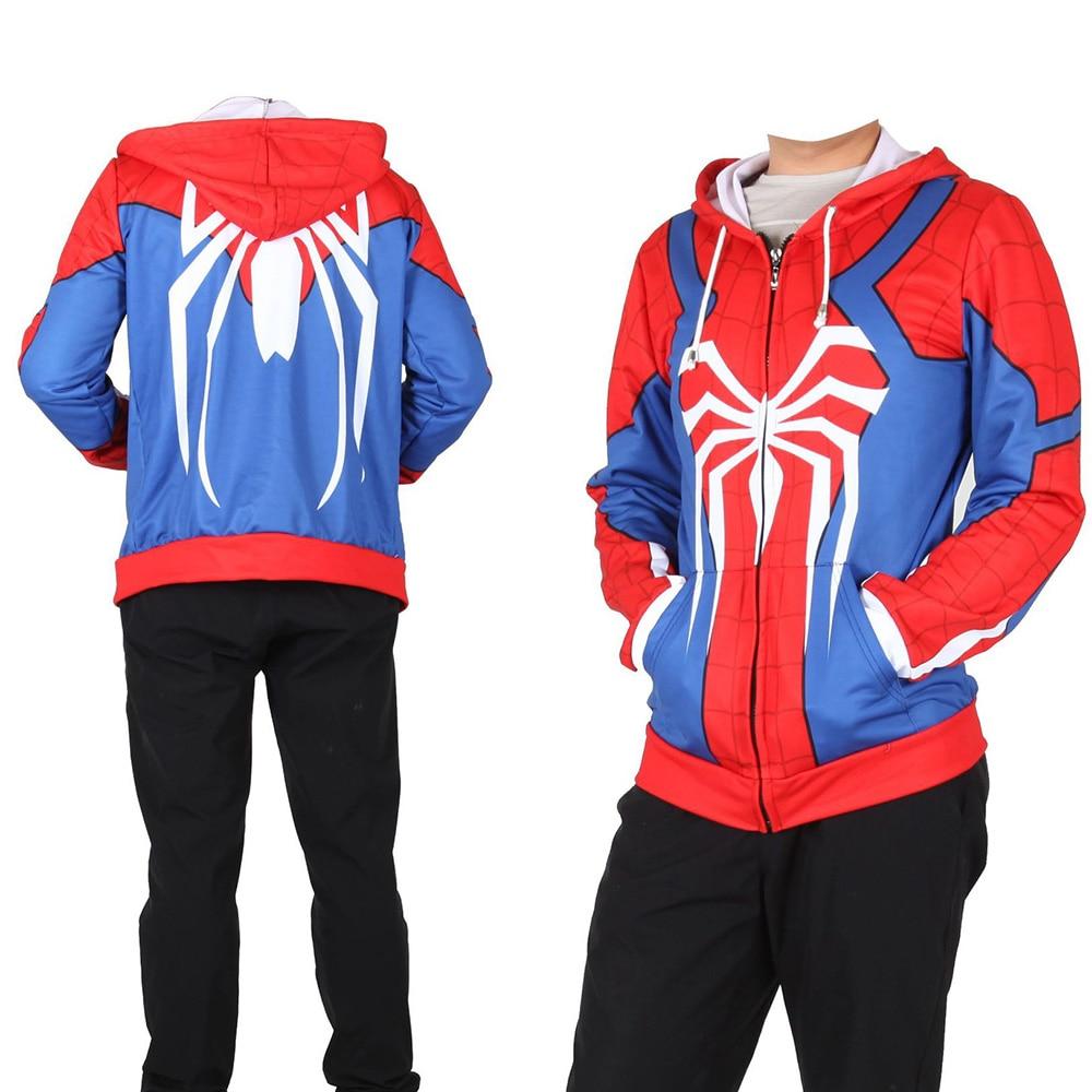 PS4 Insomniac Game Spiderman Hoodie Venom Hoodie Sweatshirt Halloween Cosplay Costume Spider Man Zipper Jacket Men Boys Hoodie