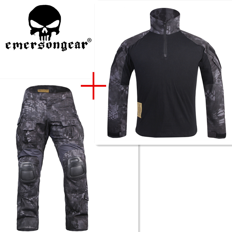 Kryptek Typhon Emerson G3 uniform shirt & Pants with knee pads BDU airsoft waregame Hunting TYP EM8586+7036 kryptek mandrake bdu g3 uniform shirt