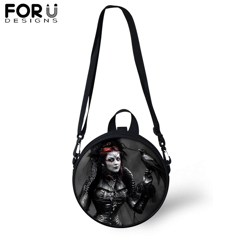 FORUDESIGNS Gothic Messenger Shoulder Bag for Women Girls Witch Dark Art Black Circular Crossbody Teenager Satchel 2019
