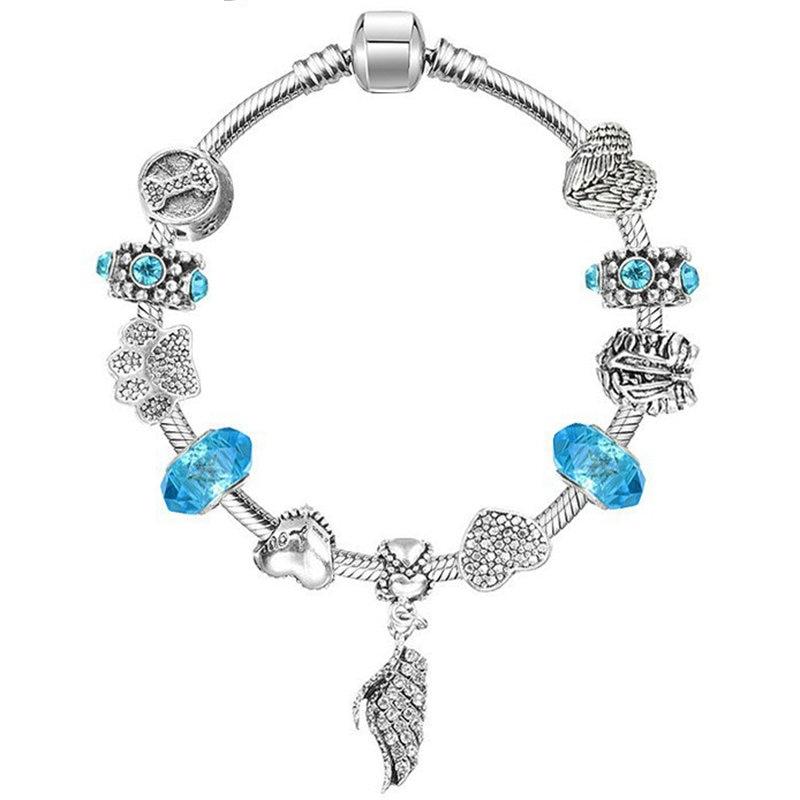Hot Sale Vintage Majestic Feather Antique Silver Charm Bracelet For Women Fit Pandora Bracelet Women Jewelry Gift
