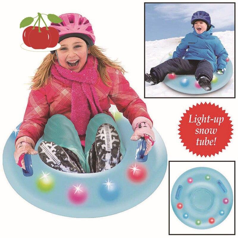 LED Illuminate Ski Circle With Handle Inflatable Flash Ski Circle Of Snow Tube Skiing Thickened Size Circle Snow Water Ski