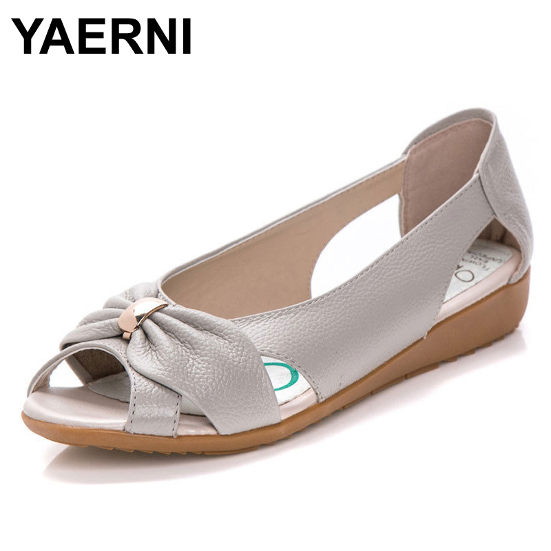 YAERNI Fashion Genuine Leather Ladies Sandals Women Cow Leather Hollow Flat Bowknot Butterfly-Knot Metal Plus Size Woman Sandals