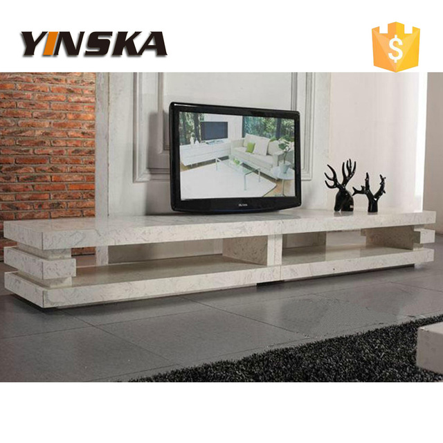 Living Room Furnture 3 Layer Design Long Travertine Marble TV Cabinet Stone Stand For