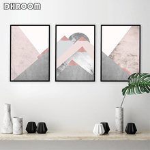Set of 3 Mountains Posters and Prints Blush Pink Grey Wall Art Abstract Canvas Painting Scandinavian Modern Poster Decor