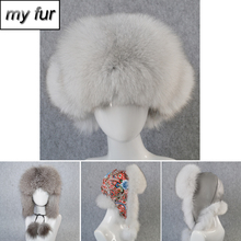 2019 Women Real Fox Fur Bomber Hat Natural Real Raccoon Fur Ushanka Hats Girls Thick Warm Real Sheepkin Leather Real Fox Fur Cap cheap Bomber Hats doakxol Adult Solid My fur-3154 100 natural fox fur Adjustable suitable for every woman real natural leather