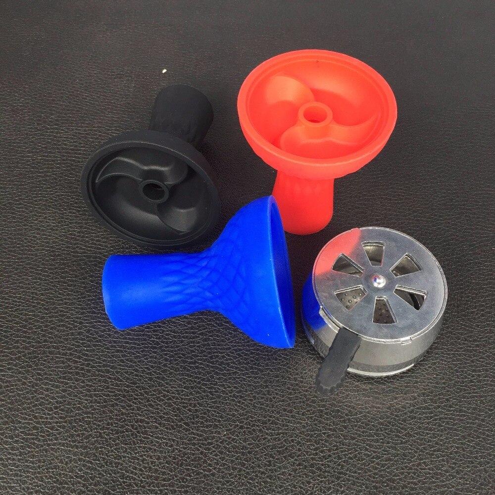 1pc Silicon bowl Shisha No Odor Hookah Bowl 1pc Metal Smoke Pot Charcoal Hose Moth Tips Hookah Bowl <font><b>Smoking</b></font> Pipe Accessories