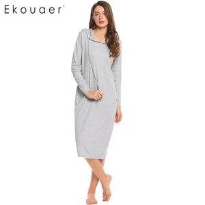 Image 1 - Ekouaer 캐주얼 잠옷 여성 긴 소매 잠옷 후드 긴 Nightdress 가을 Sleepdress 느슨한 솔리드 잠옷 가정 의류