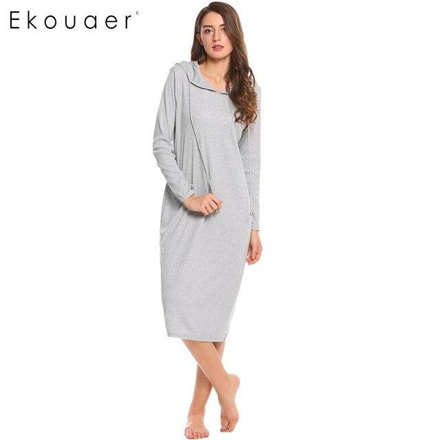 Ekouaer מזדמן כתונת לילה נשים ארוך שרוול הלבשת ברדס ארוך כותונת סתיו Sleepdress Loose מוצק הלבשת בגדי בית