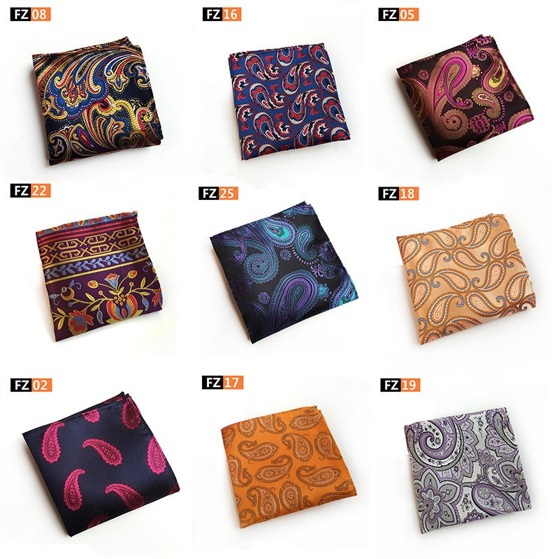 Classic Paisley Floral Flower Handkerchief Silk Woven Mens Hanky Fashion Classic Wedding Party Pocket Square Handkerchief