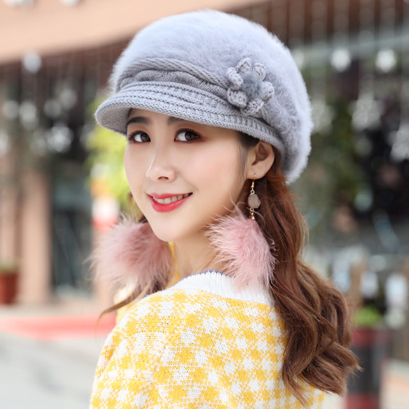HT1915 New Autumn Winter Beret Hat Rabbit Fur Hats For Women Ladies Warm Knitted Hat Casual Newsboy Beret Cap Solid Female Beret