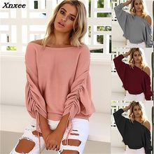 New 2018 Fashion Women Casual Knitting Sexy Off Shoulder Long Sleeve Sweater Loose Pink Black Wine Red Sweater Autumn Sweater black sexy cold shoulder long sleeves sweater